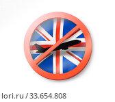 Купить «Forbbiden sign with crossed out plane on the British flag.», иллюстрация № 33654808 (c) Ярослав Данильченко / Фотобанк Лори