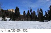 Купить «Beautiful mountains covered with snow. Sunny day and blue sky on a frosty day», видеоролик № 33654932, снято 5 марта 2019 г. (c) Олег Хархан / Фотобанк Лори