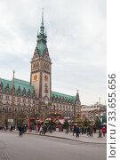 Hamburg City Hall, Germany (2018 год). Редакционное фото, фотограф EugeneSergeev / Фотобанк Лори