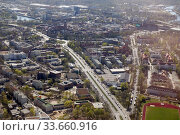 Berlin, Germany, aerial view of the old town of Spandau at Altstaedter Ring and Falkenseer Platz. Редакционное фото, агентство Caro Photoagency / Фотобанк Лори