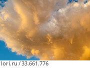 Купить «Sunset sky background. Picturesque golden colorful clouds lit by sunlight. Vast sky landscape panoramic scene», фото № 33661776, снято 25 мая 2019 г. (c) Зезелина Марина / Фотобанк Лори