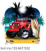 Купить «Vector cartoon 4x4 car on beach», иллюстрация № 33667532 (c) Александр Володин / Фотобанк Лори