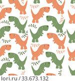 vector pattern of dinosaurs and tree branches on a white background. Стоковая иллюстрация, иллюстратор Дмитрий Бачтуб / Фотобанк Лори