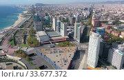 Купить «Panoramic view from the drone of residential area Diagonal Mar. Barcelona. Spain», видеоролик № 33677372, снято 4 октября 2019 г. (c) Яков Филимонов / Фотобанк Лори