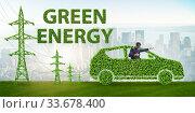 Купить «Electric car and green energy concept», фото № 33678400, снято 10 июля 2020 г. (c) Elnur / Фотобанк Лори