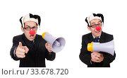 Купить «Businessman clown with loudspeaker on white», фото № 33678720, снято 28 октября 2013 г. (c) Elnur / Фотобанк Лори