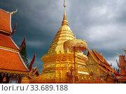 Купить «Wat Phra that Doi Suthep golden stupa in Chiang Mai, Thailand», фото № 33689188, снято 14 июля 2020 г. (c) age Fotostock / Фотобанк Лори