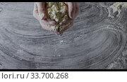 Купить «Girl's hands are throwing natural flour on a kitchen table. Splash from flour. Slow motion, Full HD video, 240fps, 1080p. Top view.», фото № 33700268, снято 12 июля 2020 г. (c) Ярослав Данильченко / Фотобанк Лори