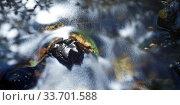 Detailaufnahme von fliessendem Wasser, Langzeitbelichtung, Sonnenrefelexe zeichnen die Stroemungsrichtung des Wassers nach, Stora Sandfell, Ostisland, Island. Стоковое фото, фотограф Zoonar.com/Stefan Ziese / age Fotostock / Фотобанк Лори