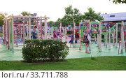 Sochi, Russia - June 6. 2018. Family holidays at the playground in Sochi Park Hotel. Редакционное видео, видеограф Володина Ольга / Фотобанк Лори