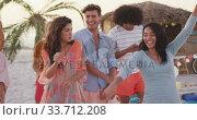 Купить «Friends enjoying a party on the beach », видеоролик № 33712208, снято 25 февраля 2020 г. (c) Wavebreak Media / Фотобанк Лори