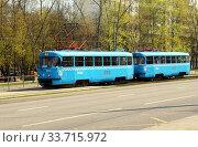 Трамвай на маршруте №1 (СМЕ 30186+30187, модель Tatra T3 (МТТЧ)). Россия, город Москва, Чертановская улица (2020 год). Редакционное фото, фотограф Щеголева Ольга / Фотобанк Лори