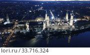 Купить «Night aerial view of Saragossa with Cathedral Basilica of Our Lady, Spain», видеоролик № 33716324, снято 19 декабря 2018 г. (c) Яков Филимонов / Фотобанк Лори