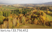 Купить «Picturesque autumn view with church on a hill. Czech Republic», видеоролик № 33716412, снято 18 октября 2019 г. (c) Яков Филимонов / Фотобанк Лори