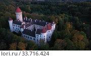 Купить «Top view of medieval castle Konopiste Castle. Czech Republic», видеоролик № 33716424, снято 12 октября 2019 г. (c) Яков Филимонов / Фотобанк Лори