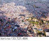 Купить «View from drone of Jerez de la Frontera with Cathedral and Moorish alcazar», фото № 33721484, снято 19 апреля 2019 г. (c) Яков Филимонов / Фотобанк Лори