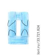 Купить «Number zero made from protective medical masks on a white background.», фото № 33721824, снято 2 мая 2020 г. (c) Ярослав Данильченко / Фотобанк Лори
