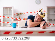 Купить «Young man at home in self-isolation concept», фото № 33722208, снято 1 апреля 2020 г. (c) Elnur / Фотобанк Лори