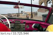Купить «View from old convertible car on the promenadein Havana, Cuba», фото № 33725944, снято 27 января 2013 г. (c) Вознесенская Ольга / Фотобанк Лори