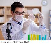 Купить «Doctor studying virus bacteria in the lab», фото № 33726896, снято 30 января 2017 г. (c) Elnur / Фотобанк Лори