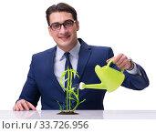 Купить «Businessman in new business concept», фото № 33726956, снято 27 мая 2020 г. (c) Elnur / Фотобанк Лори