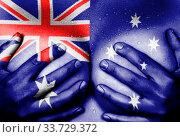 Купить «Sweaty upper part of female body, hands covering breasts, flag of Australia», фото № 33729372, снято 5 июня 2020 г. (c) age Fotostock / Фотобанк Лори