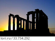 Silhouette of the Ruins of the Temple of Poseidon at Cape Sounion, Attica Peninsula, Greece. Стоковое фото, фотограф Fabrizio Troiani / easy Fotostock / Фотобанк Лори