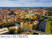 Купить «Aerial view on the city Plzen. Czech Republic», фото № 33738872, снято 11 октября 2019 г. (c) Яков Филимонов / Фотобанк Лори