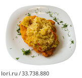 Купить «Pork loin with sauerkraut, polish cuisine», фото № 33738880, снято 5 июня 2020 г. (c) Яков Филимонов / Фотобанк Лори