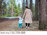 Young mother with her toddler child stepping together in spring park, rear view. Стоковое фото, фотограф Кекяляйнен Андрей / Фотобанк Лори