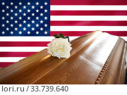 white rose on wooden coffin over flag of america (2017 год). Стоковое фото, фотограф Syda Productions / Фотобанк Лори