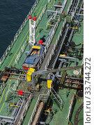 Купить «Top view of fuel oil pipelines on deck of fuel oil bunker vessel, Piraeus port, Athens, Greece.», фото № 33744272, снято 29 сентября 2019 г. (c) age Fotostock / Фотобанк Лори