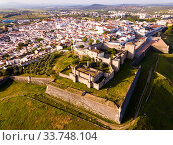 Panoramic view from drone of the castle in Elvas. Portugal (2019 год). Стоковое фото, фотограф Яков Филимонов / Фотобанк Лори