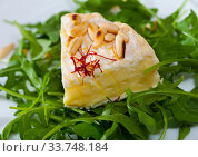 Купить «Camembert cheese with pine nuts and arugula», фото № 33748184, снято 16 июля 2020 г. (c) Яков Филимонов / Фотобанк Лори