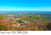Купить «Adriatic seashore with San Marino and Emilia-Romagna», фото № 33749224, снято 28 февраля 2020 г. (c) Роман Сигаев / Фотобанк Лори
