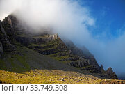 Купить «Wolken vor blauem Himmel am Berg Mosfell, Ostisland, Island, Europa», фото № 33749308, снято 28 мая 2020 г. (c) age Fotostock / Фотобанк Лори