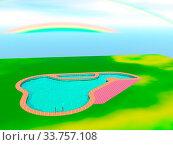 Купить «Swimmingpool im Garten mit Regenbogen im Himmel», фото № 33757108, снято 28 мая 2020 г. (c) easy Fotostock / Фотобанк Лори
