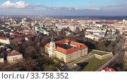 Купить «Aerial view on the medieval castle Rzeszow. Rzeszow City. Poland», видеоролик № 33758352, снято 10 марта 2020 г. (c) Яков Филимонов / Фотобанк Лори