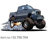 Купить «Vector Cartoon 4x4 pickup isolated», иллюстрация № 33758704 (c) Александр Володин / Фотобанк Лори