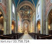 Купить «Интерьер церкви Людвигскирхе в Мюнхене, Германия», фото № 33758724, снято 29 мая 2017 г. (c) Михаил Марковский / Фотобанк Лори