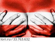 Купить «Sweaty upper part of female body, hands covering breasts, flag of Austria», фото № 33763632, снято 5 июня 2020 г. (c) age Fotostock / Фотобанк Лори