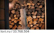 Купить «Chopping wood with an ax in woodpile», видеоролик № 33768504, снято 2 июня 2020 г. (c) Константин Шишкин / Фотобанк Лори