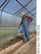 Купить «Young adult woman watering in greenhouse», фото № 33768932, снято 11 мая 2020 г. (c) Алексей Кузнецов / Фотобанк Лори