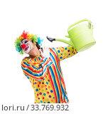 Купить «Funny clown isolated on white background», фото № 33769932, снято 28 сентября 2018 г. (c) Elnur / Фотобанк Лори