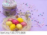 Купить «horizontal photo of the compilation for Easter with cake and painted eggs», фото № 33771664, снято 12 апреля 2020 г. (c) Иванов Алексей / Фотобанк Лори