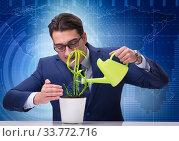 Купить «Businessman in new business concept», фото № 33772716, снято 27 мая 2020 г. (c) Elnur / Фотобанк Лори