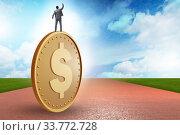 Купить «Businessman with giant golden dollar coin», фото № 33772728, снято 6 июня 2020 г. (c) Elnur / Фотобанк Лори