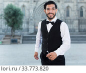 Portrait of man in bow tie outdoors. Стоковое фото, фотограф Яков Филимонов / Фотобанк Лори