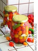 Купить «Cherry tomatoes canned.», фото № 33773852, снято 17 мая 2020 г. (c) Марина Володько / Фотобанк Лори