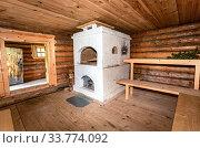 Interior of the Russian traditional wooden bath. Стоковое фото, фотограф FotograFF / Фотобанк Лори